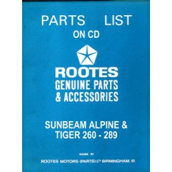 Sunbeam Alpine Parts List 6600992 & Tiger 260-289 Supplement 6601334