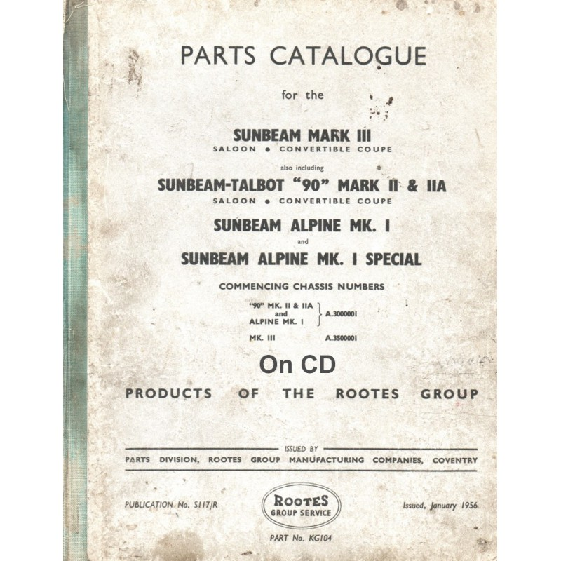 Sunbeam Alpine and Sunbeam-Talbot 1956 Parts Catalogue