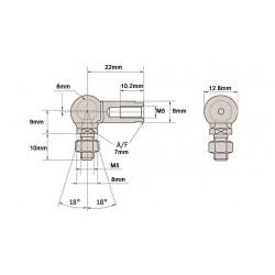 Pair of 8mm ball & socket joint M5 Left Hand Thread GL