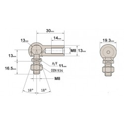 1 x 13mm ball & socket joint with seal M8 Leftt Hand Thread