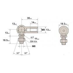 M8 Ball & Socket Joint 13mm 1 x Right Hand 1 x Left Hand Thread