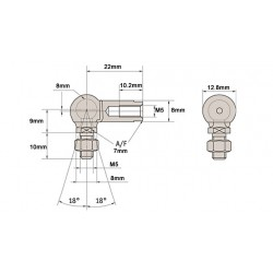 Pair of 8mm ball joint M5 Right Hand Thread GS